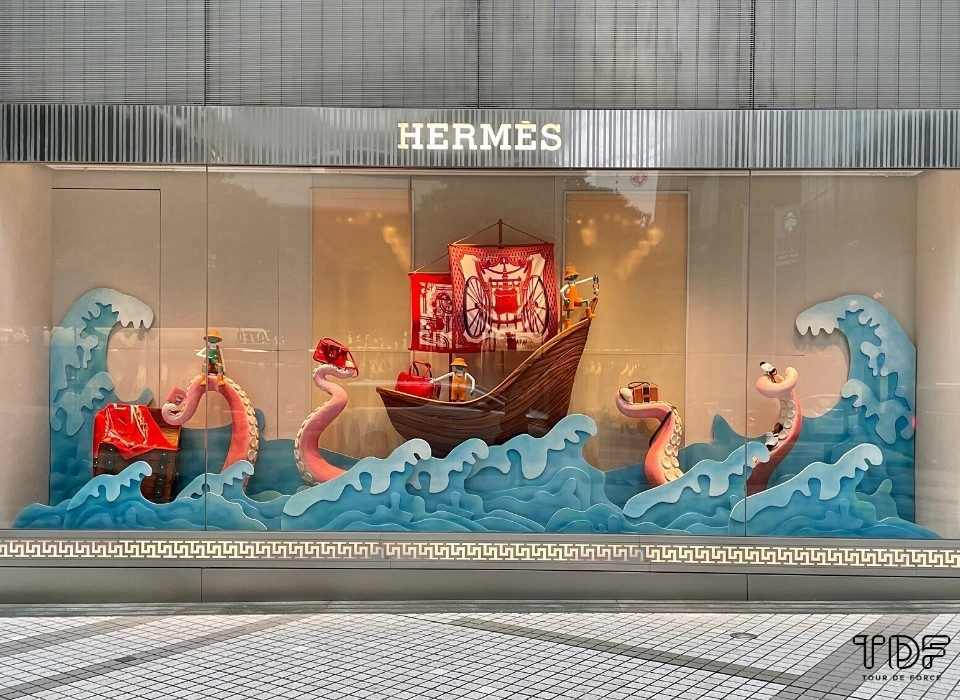 Store window, window display, Hermes Resort 2021 Ready-to-Wear collection, Visual merchandising