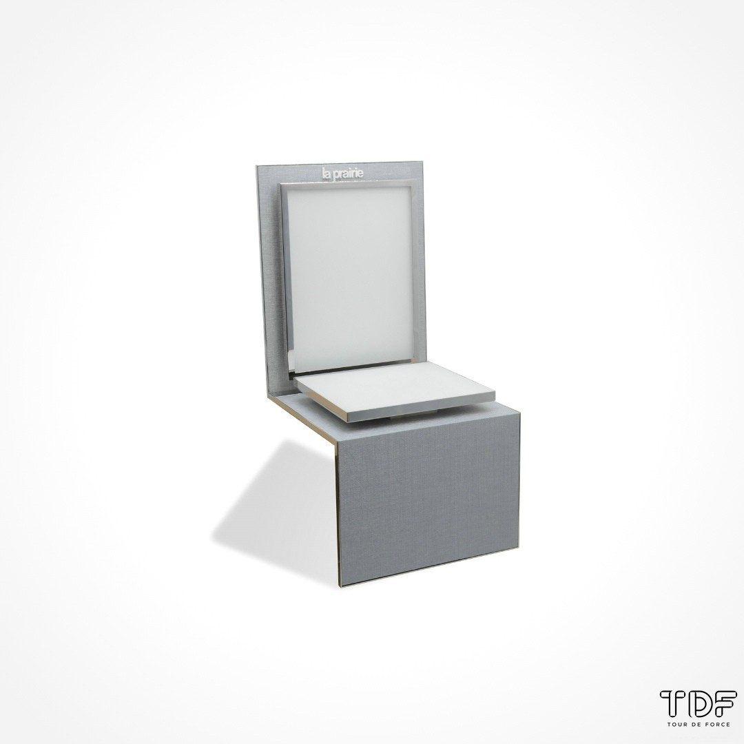 L-shape display unit, cosmetic tester unit display, TDF visual merchandising production, window display suppliers, product display suppliers
