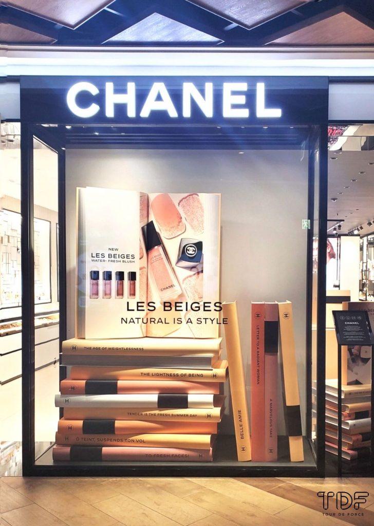 cosmetic store window, cosmetic window props, TDF visual merchandising